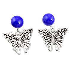 Natural blue lapis lazuli 925 sterling silver butterfly earrings c11717