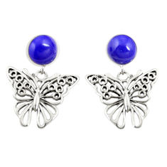 Natural blue lapis lazuli 925 sterling silver butterfly earrings c11689