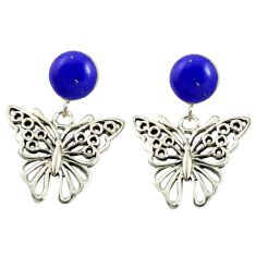 Natural blue lapis lazuli 925 sterling silver butterfly earrings c11682