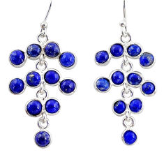 9.53cts natural blue lapis lazuli 925 sterling silver chandelier earrings r35622