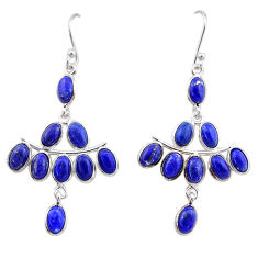 14.12cts natural blue lapis lazuli 925 sterling silver chandelier earrings t1845