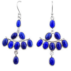 14.91cts natural blue lapis lazuli 925 sterling silver chandelier earrings t1849