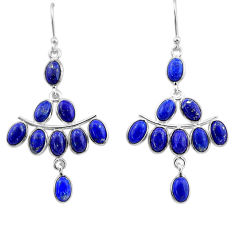 14.09cts natural blue lapis lazuli 925 sterling silver chandelier earrings t1852