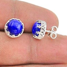 6.68cts natural blue lapis lazuli 925 sterling silver crown stud earrings t43670