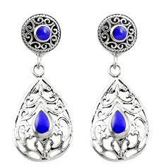 Natural blue lapis lazuli 925 sterling silver dangle earrings c11613