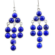 14.23cts natural blue lapis lazuli 925 sterling silver dangle earrings d39914