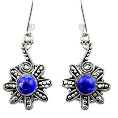 Clearance Sale- 2.72cts natural blue lapis lazuli 925 sterling silver dangle earrings d40890