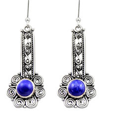2.84cts natural blue lapis lazuli 925 sterling silver dangle earrings d40894