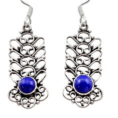 2.53cts natural blue lapis lazuli 925 sterling silver dangle earrings d40896