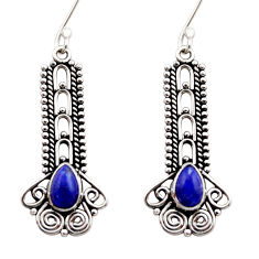 3.51cts natural blue lapis lazuli 925 sterling silver dangle earrings d40899