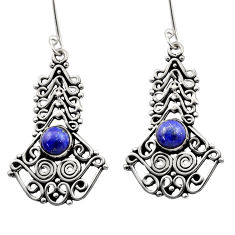 Clearance Sale- 2.63cts natural blue lapis lazuli 925 sterling silver dangle earrings d40901