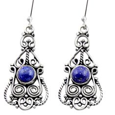 blue lapis lazuli 925 sterling silver dangle earrings d40903