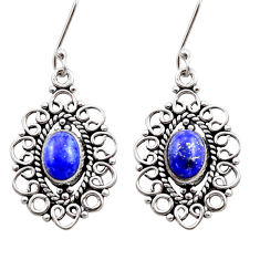 Clearance Sale- 4.90cts natural blue lapis lazuli 925 sterling silver dangle earrings d40905
