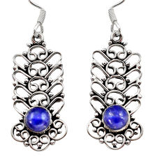 Clearance Sale- 2.40cts natural blue lapis lazuli 925 sterling silver dangle earrings d40906