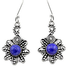 2.72cts natural blue lapis lazuli 925 sterling silver dangle earrings d40908