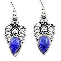Clearance Sale- 8.77cts natural blue lapis lazuli 925 sterling silver dangle earrings d40911