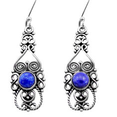 2.35cts natural blue lapis lazuli 925 sterling silver dangle earrings d40914