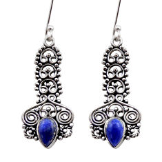 Clearance Sale- 3.51cts natural blue lapis lazuli 925 sterling silver dangle earrings d40915
