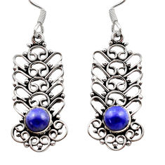 2.44cts natural blue lapis lazuli 925 sterling silver dangle earrings d40917