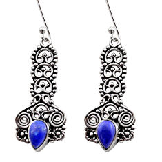 Clearance Sale- 4.02cts natural blue lapis lazuli 925 sterling silver dangle earrings d40918
