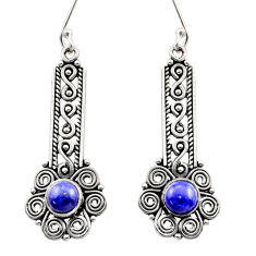 Clearance Sale- 2.73cts natural blue lapis lazuli 925 sterling silver dangle earrings d40925