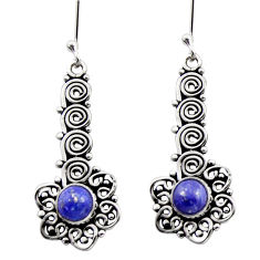 Clearance Sale- 2.35cts natural blue lapis lazuli 925 sterling silver dangle earrings d40927