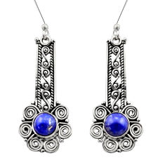 Clearance Sale- 2.85cts natural blue lapis lazuli 925 sterling silver dangle earrings d40930