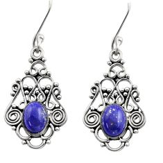 4.92cts natural blue lapis lazuli 925 sterling silver dangle earrings d40932