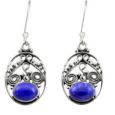4.47cts natural blue lapis lazuli 925 sterling silver dangle earrings d40935