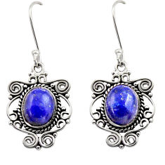 8.03cts natural blue lapis lazuli 925 sterling silver dangle earrings d40940