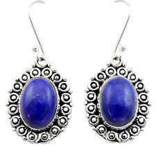 Clearance Sale- 12.70cts natural blue lapis lazuli 925 sterling silver dangle earrings d40961