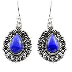 blue lapis lazuli 925 sterling silver dangle earrings d40962