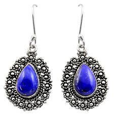 10.39cts natural blue lapis lazuli 925 sterling silver dangle earrings d40965