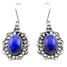 11.54cts natural blue lapis lazuli 925 sterling silver dangle earrings d40966