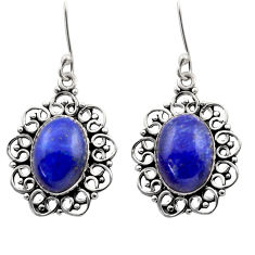 12.70cts natural blue lapis lazuli 925 sterling silver dangle earrings d40974