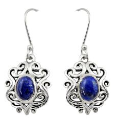 4.16cts natural blue lapis lazuli 925 sterling silver dangle earrings d46830