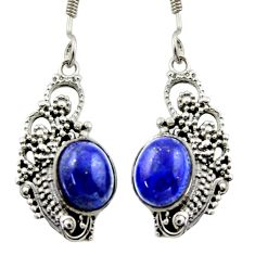 6.31cts natural blue lapis lazuli 925 sterling silver dangle earrings d46881