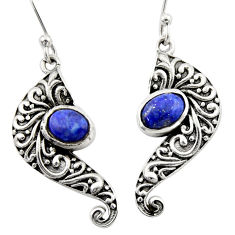 3.29cts natural blue lapis lazuli 925 sterling silver dangle earrings d46882