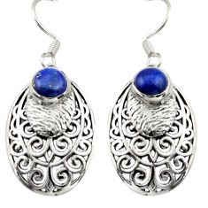 2.19cts natural blue lapis lazuli 925 sterling silver dangle earrings d46890