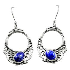 4.71cts natural blue lapis lazuli 925 sterling silver dangle earrings d46912