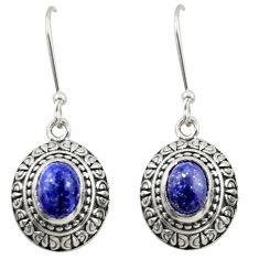 4.38cts natural blue lapis lazuli 925 sterling silver dangle earrings d46927