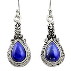 5.07cts natural blue lapis lazuli 925 sterling silver dangle earrings d46947