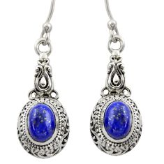 3.29cts natural blue lapis lazuli 925 sterling silver dangle earrings d46948