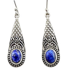 4.37cts natural blue lapis lazuli 925 sterling silver dangle earrings d47090