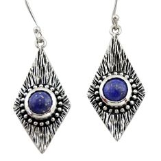 4.21cts natural blue lapis lazuli 925 sterling silver dangle earrings d47093