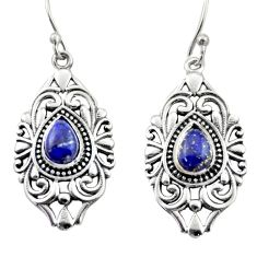 4.39cts natural blue lapis lazuli 925 sterling silver dangle earrings d47102