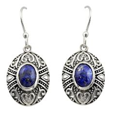 4.21cts natural blue lapis lazuli 925 sterling silver dangle earrings d47123