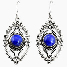 6.20cts natural blue lapis lazuli 925 sterling silver dangle earrings r19758