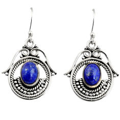 4.21cts natural blue lapis lazuli 925 sterling silver dangle earrings r19759