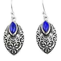 4.21cts natural blue lapis lazuli 925 sterling silver dangle earrings r19828